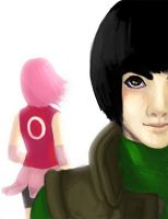 Rock Lee and Sakura by birdyted