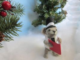 caroling mouse christmas decor by Elvenartistsforest