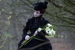 Stock - Gothic lady lilies dance by S-T-A-R-gazer