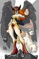 Hawkgirl Inks and Colors by bluewolf15