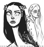 random Hair sketches by UrsulaDecay