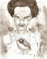 Old Black and a bird by thierryart