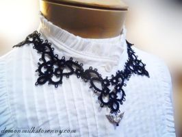 spectra tatted lace necklace by demonmilk