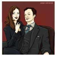 Sherlock: Vampire Mycroft and Anthea by Falln4DarkAngel