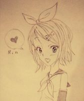 Quick sketch of Rin Kagamine by SlytherinMe
