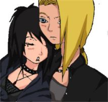 Deidara and Mistuko - coloured by xXgothiqueXliluimXx