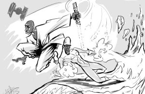 Mace Windu and Frozone sketch by ADE-doodles
