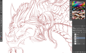Smaug Redesign part 2 sketch by Ghostwalker2061