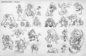 SS2 Monster Concepts by Quirkilicious