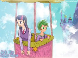 Twilight and Spike (painted) by jeoong94