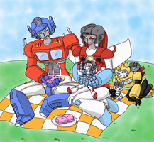 TF - Optimus x Starscream picnic (contest entry) by Cloud-Kitsune
