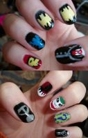 Batman + Friends Nails by QueenAliceOfAwesome