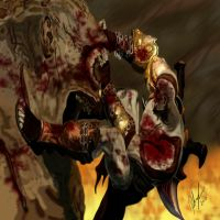 God Of War kratos vs cyclops by l3nbak