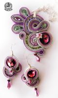Soutache  set earrings and pendant in Pink by caricatalia