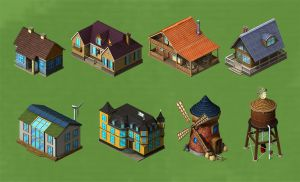 Game art - houses, mill by CL88