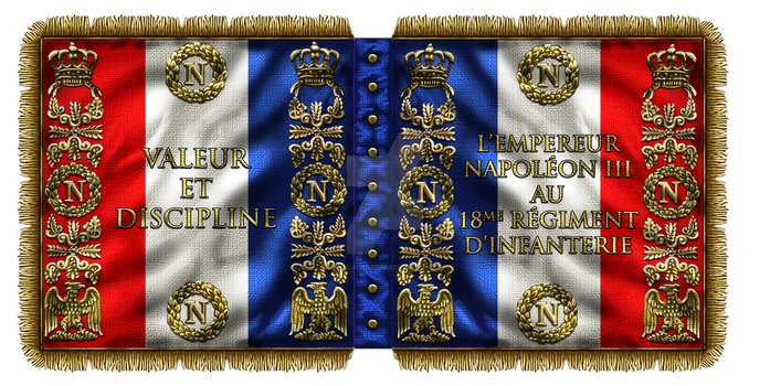 French Infantry Battle Flag of Napoleon III by ManuLaCanette