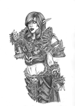 Drawing of Jess Nigri's Death Knight WoW cosplay by Rachninja95