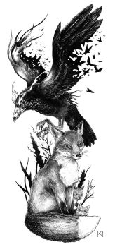 Raven and fox tattoo design by Kaos-Nest