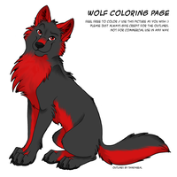 Colored Wolf - black and red by the-gaywolf