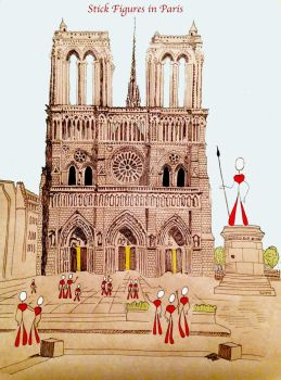 Stick Figures in Paris II (Notre Dame) by SophlyLaughing
