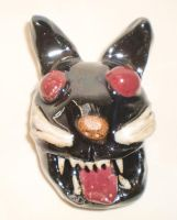Red-Eyed Cat Head by aberrantceramics
