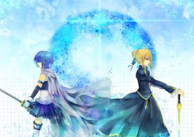 Saber X Sayaka by sea-flow