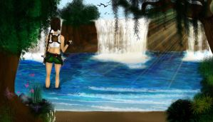 Lara Croft in the south pacific islands by florecande12