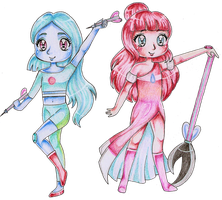 Mint Tourmaline and Rosaline by Bee-chii