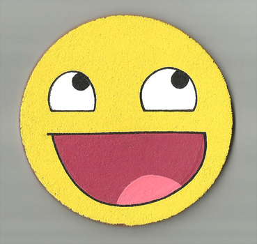 Awesome face coaster by mew-trainer-rose