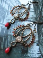 coral and citrine wire wrapped copper  earrings by Lirimaer86