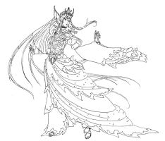 Idiul, Queen of Sea - Lineart by SylverTrinity