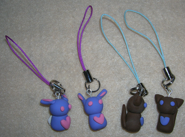 Bunny Cat Heart Phone Charms by mistoftime