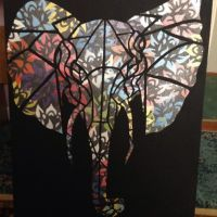 Elephant and flowers , spray paint , stencil  by kylemcgarry