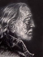 Willie Nelson Scratchboard by Amaranth44