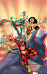 JLA by Bryan Hitch in 3D Anaglyph by xmancyclops
