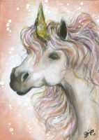 Tender - Unicorn Aceo by BlackAngel-Diana
