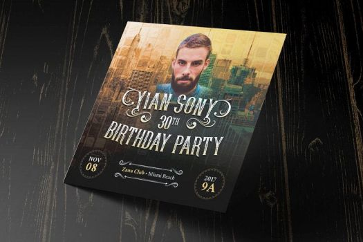 Hipster Small Birthday Party Flyer Template by Godserv