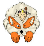 :.Collab.: Arcanine and Meowth by 50shadesofPitchBlack