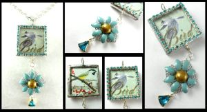 Blue Crystal Vintage Flower Bird Soldered Pendant by DryGulchJewelry