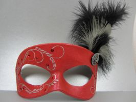 Red and silver masquerade mask by maskedzone