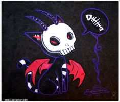 skull kitty death bag by Neooxx