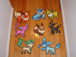 Eeveelution in Perler Beads by kaji7600