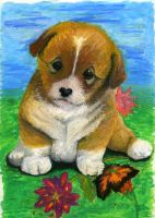 Puppy with oil pastel by lilbabiangel88