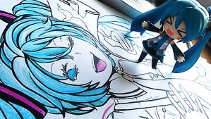 LOVE IS WAR drawing and Hatsune Miku Nendoroid 2.0 by Vocalandroid01
