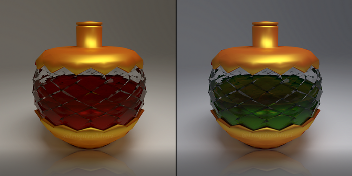 Apple-shaped potions Red and Green by InspireMari