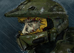 Master Chief broken helmet by Willatorx