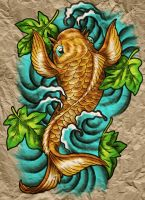 Koi on Parchment by Wolfish-Dreams