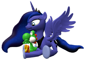 Baby Yoshi and Luna gmod render by IcePony64