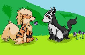 arcanine + mightyena by CrazyKyoFanGirl