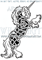 Gypsy Vanner Unicorn Knotwork Design by WildSpiritWolf
